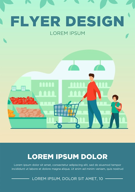 Father and son buying food in supermarket. young man and boy wheeling shopping cart with food along aisles in grocery store. vector illustration for market, retail, shoppers, customers concept Free Vector