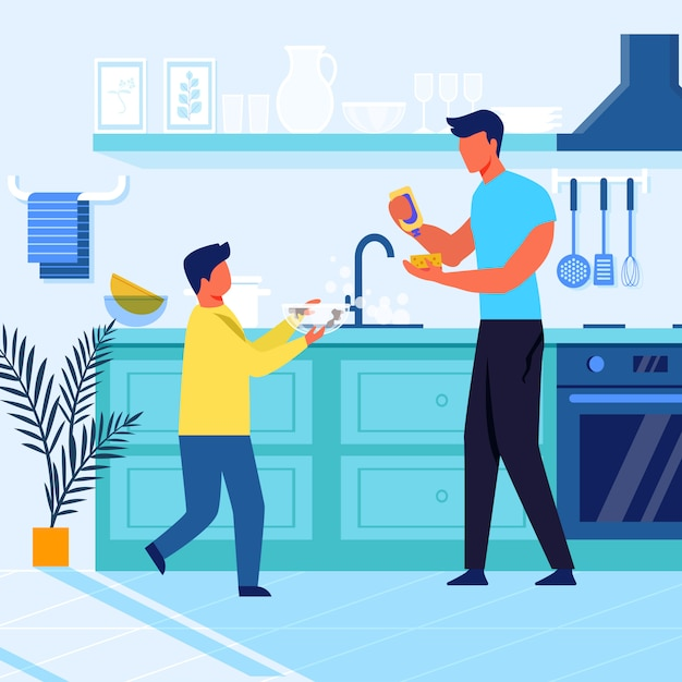 Father and son do dishes flat vector illustration Premium Vector