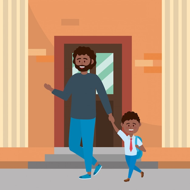 Father and son going to school Free Vector