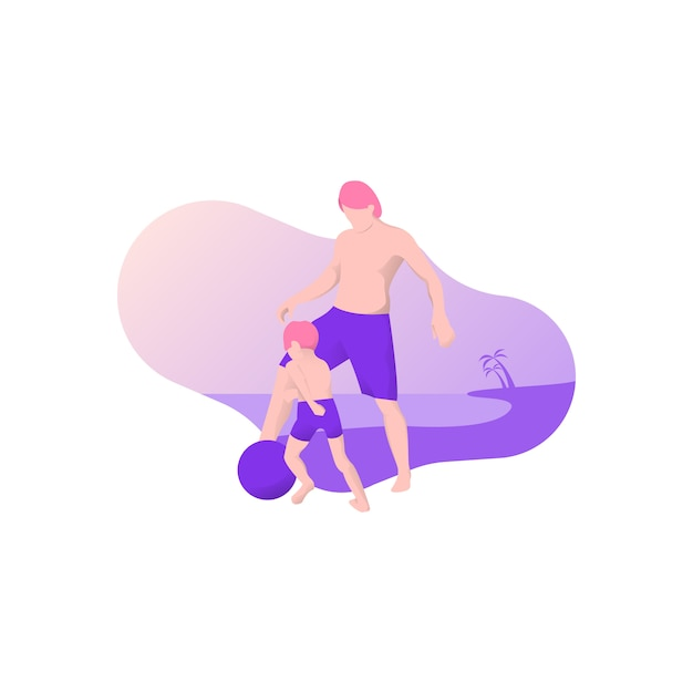 Father and son playing footbal on beach Premium Vector