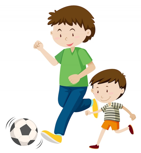 Father and son playing soccer Free Vector