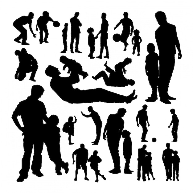 Father and son silhouettes Premium Vector
