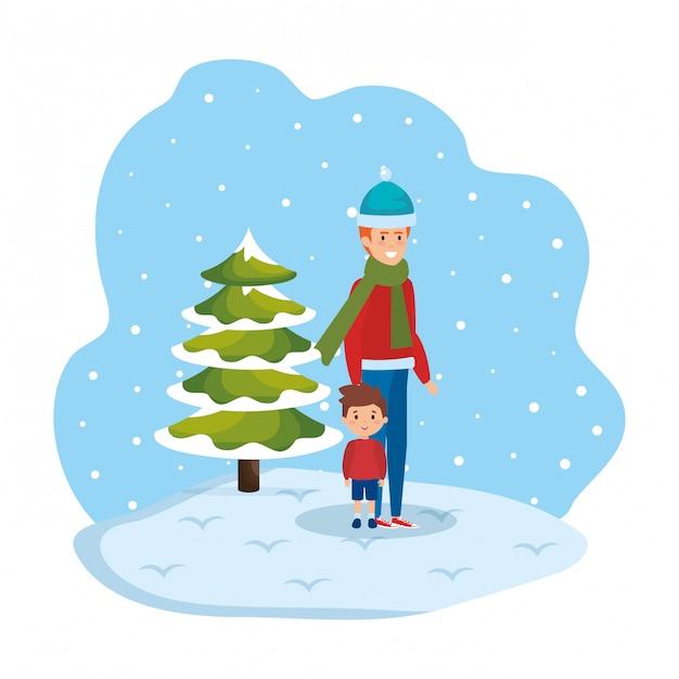 Father and son in snowscape Premium Vector