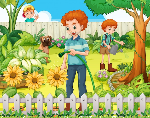 Father and son watering the plants in the garden Premium Vector