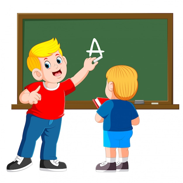 Father teaches little son with chalkboard on background Premium Vector