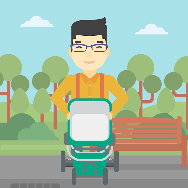 Father walking with baby stroller. Premium Vector