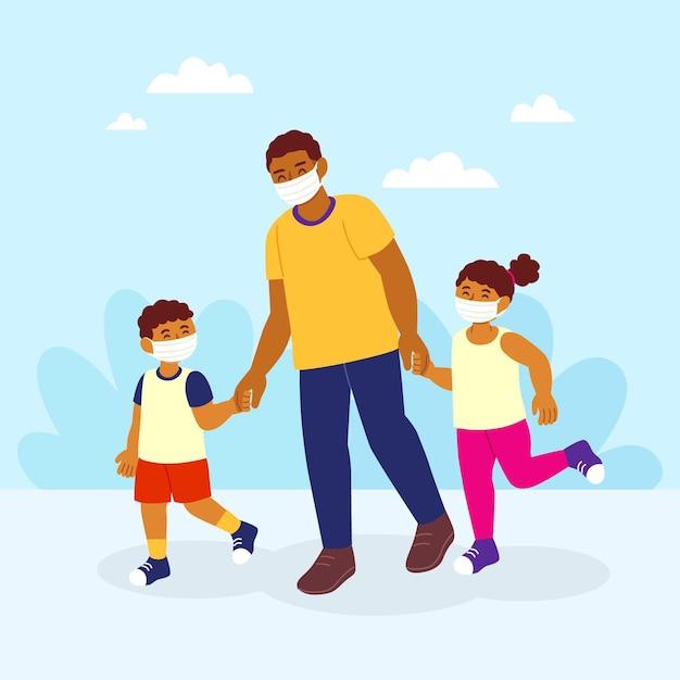 Отец гуляет с детьми в медицинских масках Бесплатные векторы