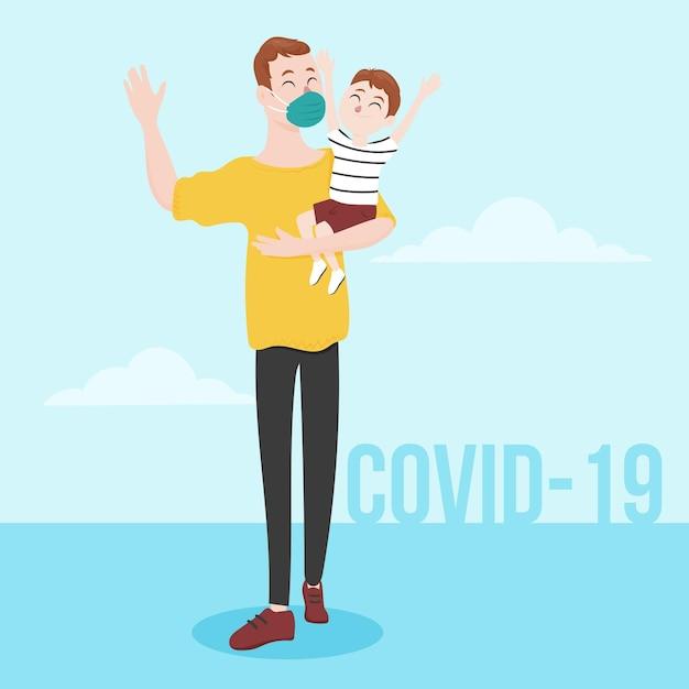 Отец гуляет с ребенком Бесплатные векторы