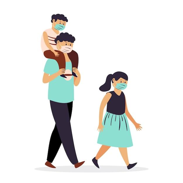 父親と子供たちが医療用マスクで歩く 無料ベクター