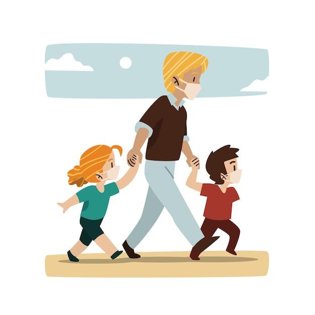 Отец гуляет со своими детьми в медицинских масках Бесплатные векторы