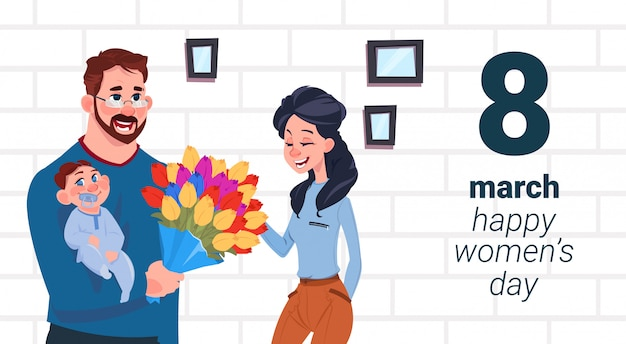 Father with baby greeting mother with happy women day creative card 8 march holiday concept Premium Vector