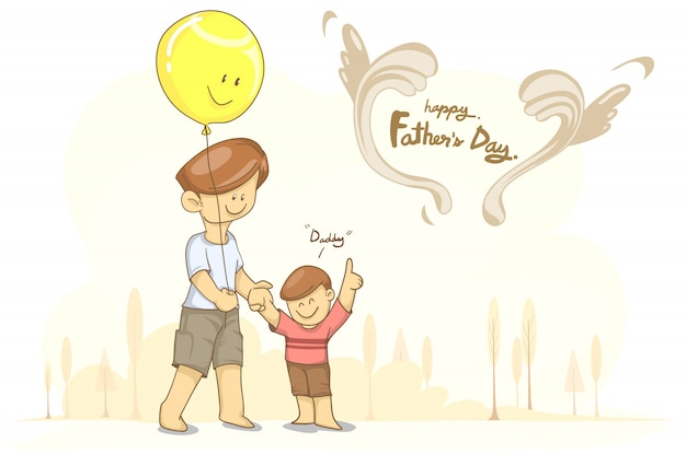 Father with balloon and son for father's day Premium Vector
