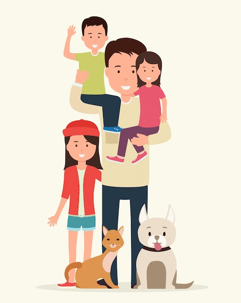 Father with children and animals. Premium Vector