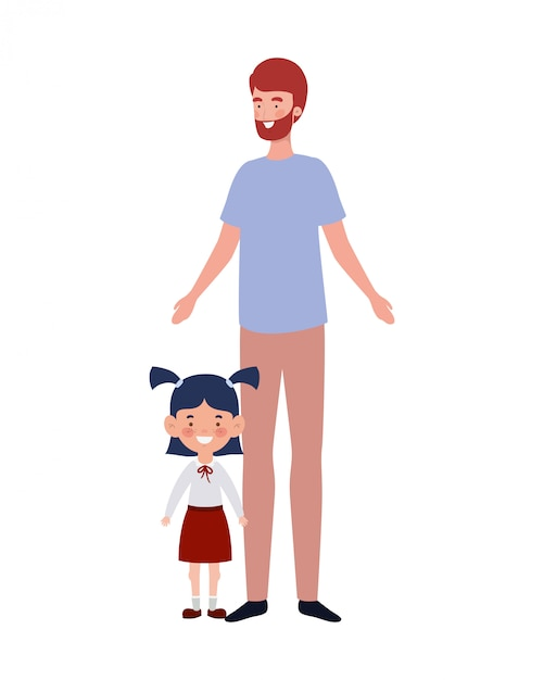 Father with daughter of back to school Premium Vector