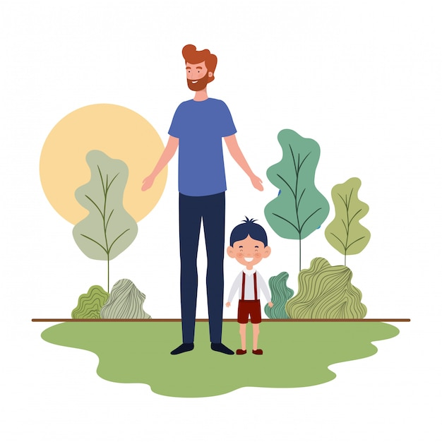 Father with son of back to school Premium Vector