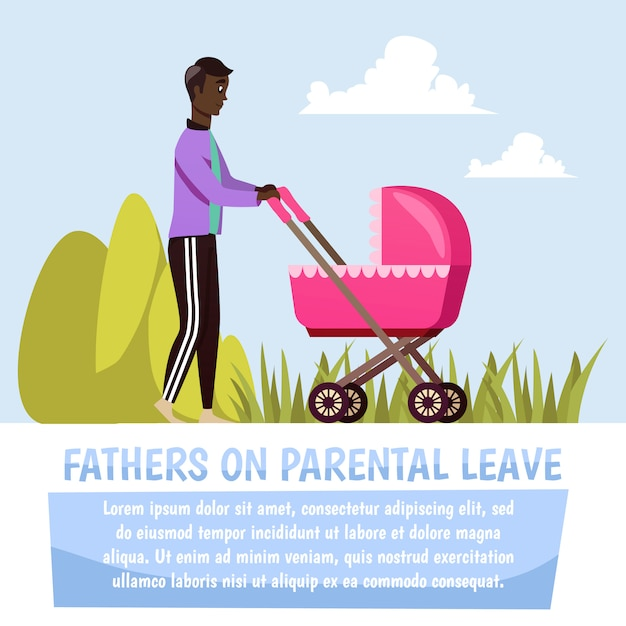 Father with stroller orthogonal Free Vector