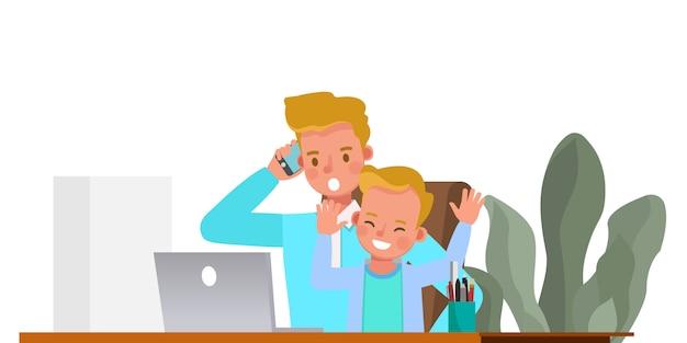 Отец работает из дома с характером детей. концепция социального дистанцирования и самоизоляции. Premium векторы