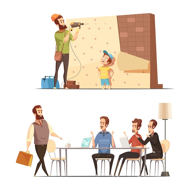 Fatherhood 2 retro cartoon work family balance concept with house renovation and late in office isolated vector illustration Free Vector