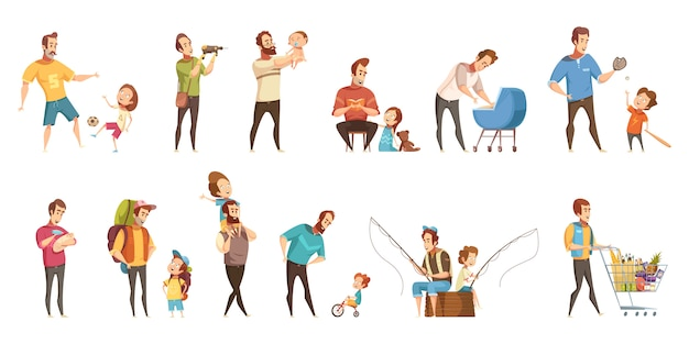 Fatherhood child-rearing shopping playing walking fishing with kids retro cartoon icons 2 banners set  isolated vector illustration Free Vector