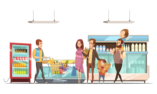Fatherhood household work grocery shopping for family with kids in supermarket retro cartoon poster vector illustration Free Vector