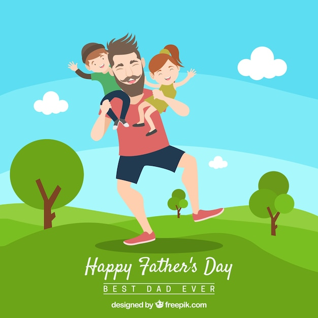 Fathers day background with dad and kids in\ nature