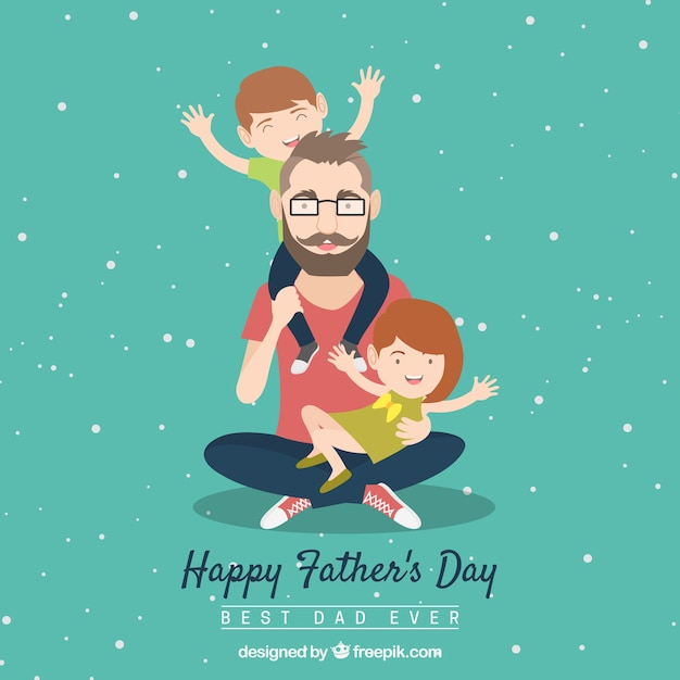 Fathers day background with dad and kids Free Vector