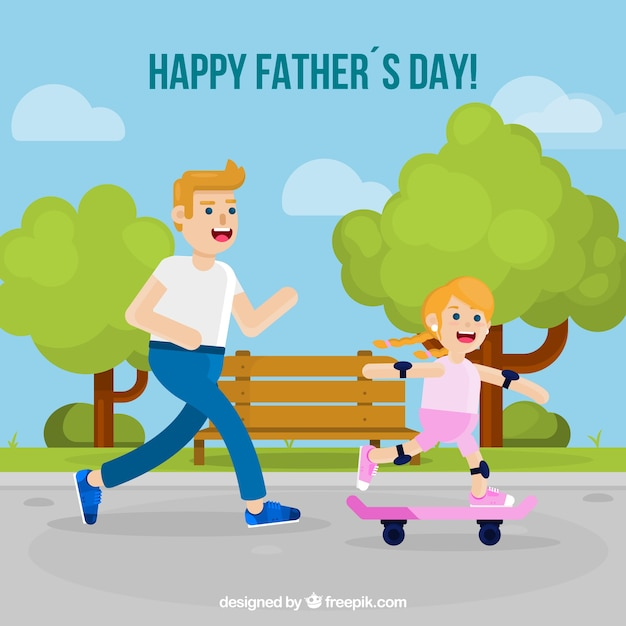 Fathers day background with girl on\ skateboard