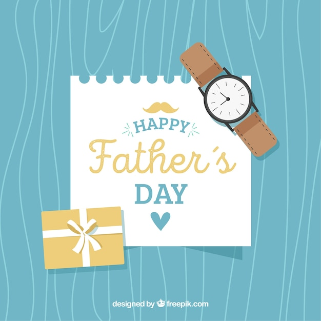 Fathers day background with watch and\ note