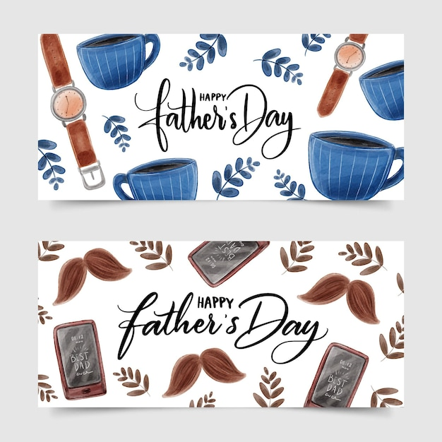 Fathers day banner design Free Vector