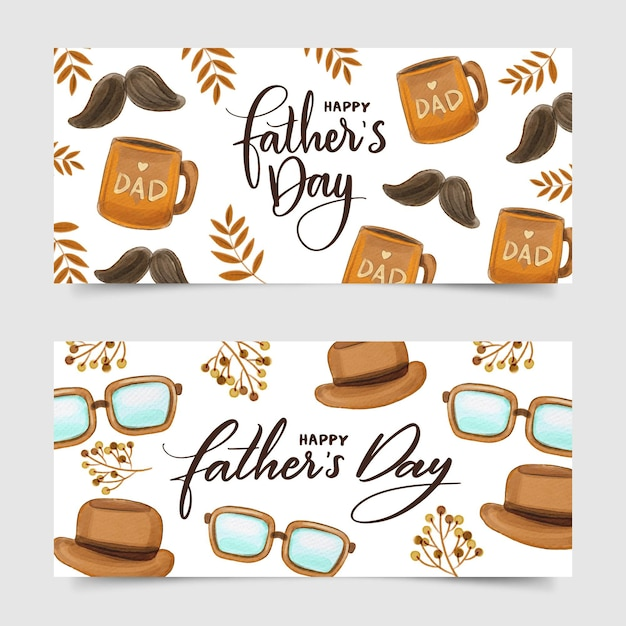 Fathers day banner Free Vector