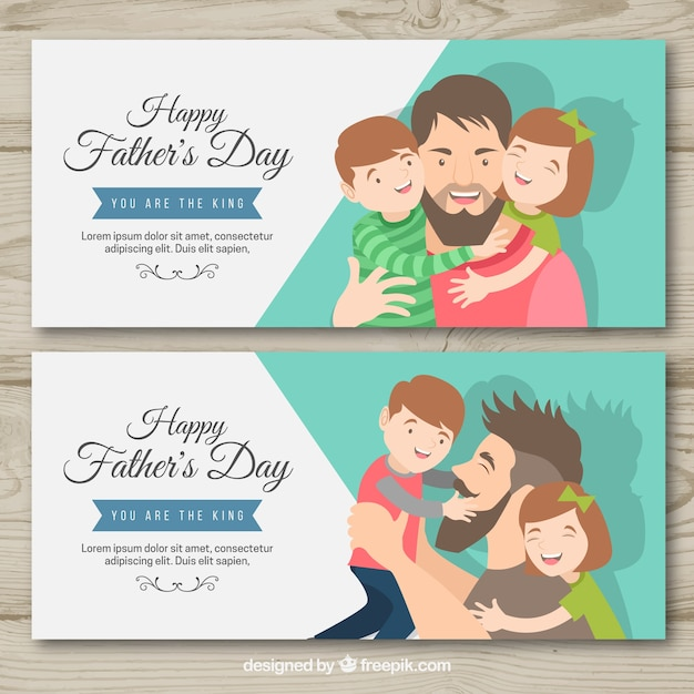 Fathers day banners with family Free Vector