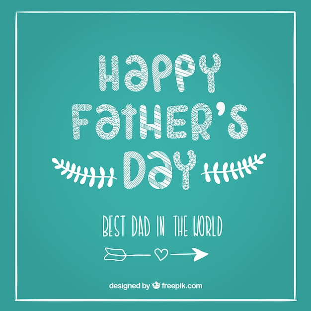 Fathers day card on blackboard
