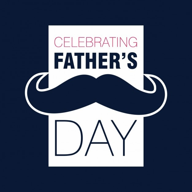 Fathers day card with a retro moustache Free Vector