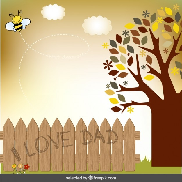 Fathers day card with a tree