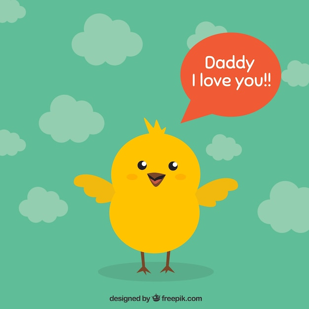 Fathers day card with chicken