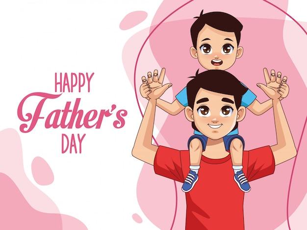 Отцов день открытка с отцом, перевозящих сына и надписи Premium векторы