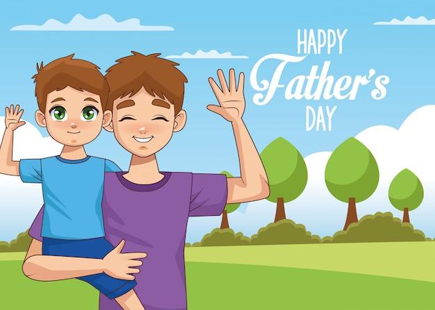 Открытка на день отца с сыном Premium векторы