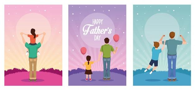 Отцовская открытка с папами и детскими персонажами Premium векторы