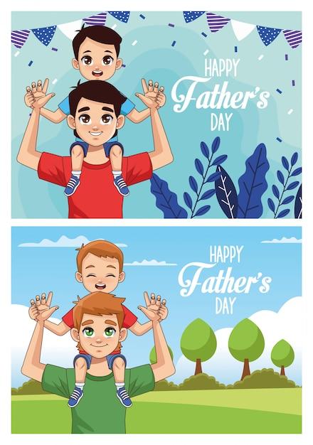 Открытка ко дню отца с папами с сыновьями Premium векторы