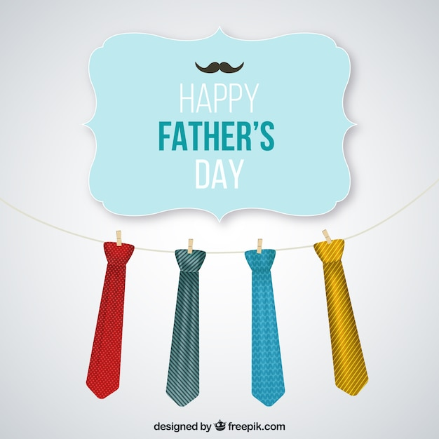 Fathers day card with hanging neck ties