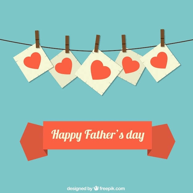 Fathers day card with hearts