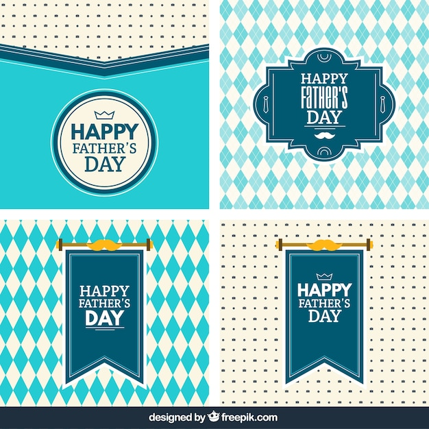 Fathers day cards in blue tones