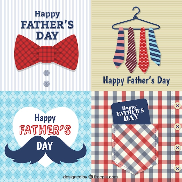Fathers day cards Free Vector
