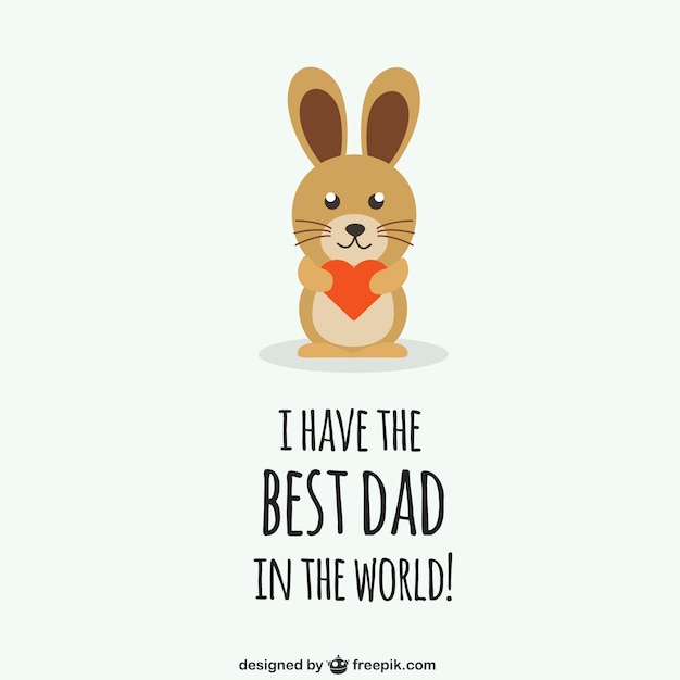 Fathers day congratulation with rabbit
