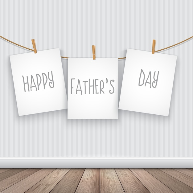 Fathers day design with hanging cards Free Vector