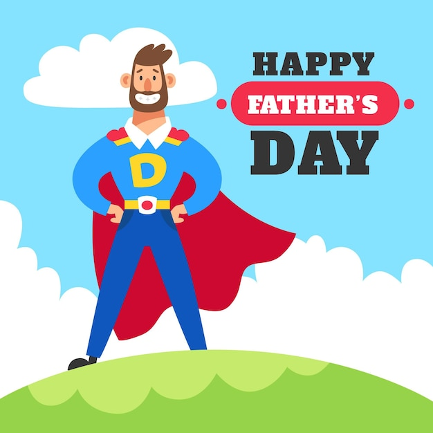 Fathers day illustrated concept Free Vector