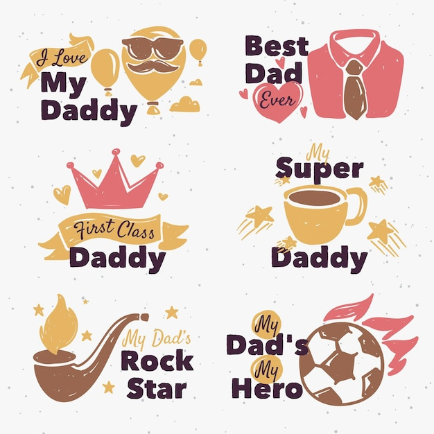 Fathers day label set Free Vector
