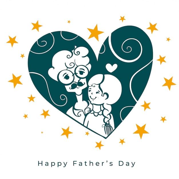 День отцов любви фон с папой и дочерью Бесплатные векторы
