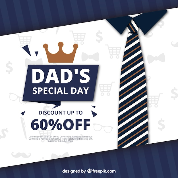 Fathers day sale background with tie Free Vector