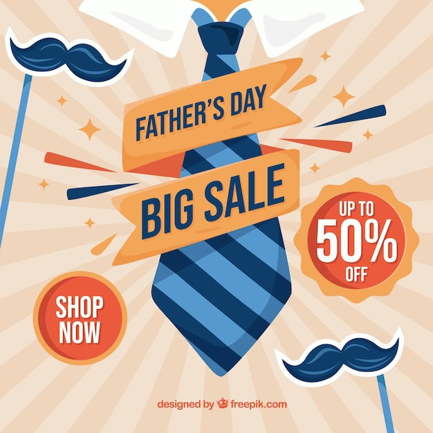 Fathers day sale background Free Vector